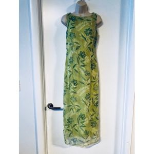 Vintage LA BELLE Green Floral Maxi Dress Size 5